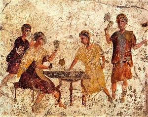 Dice Players, Roman Fresco, Osteria della Via di Mercurio Pompeii, Photo by W. Rieger [Public domain] Wikimedia Commons