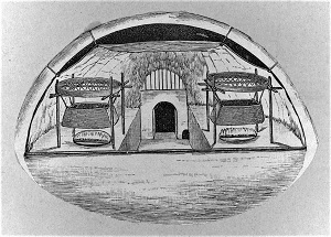 Drawing of interior of igloo (1916), U.S. Library of Congress