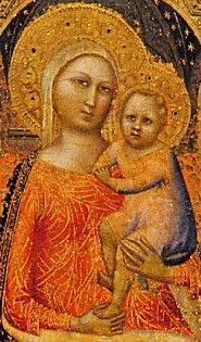 Madonna & Child with Saints, Crucifixion & Nativity (cropped, c1316-c1374) by A. Nuzi, DIA-2017