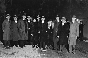 President Herbert Hoover (front & center) visiting Tunnel 2 of the Hoover Dam (c1932), National Archives & Records-300px