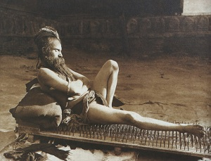 Fakir on Bed of Nails (1907), Photo by Herbert Ponting, WikiMedia Commons