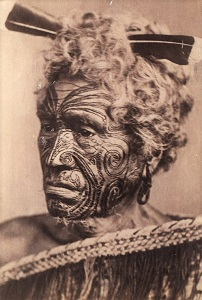 Māori Man with Tattooed Face (c1860-1889), WikiMedia Commons