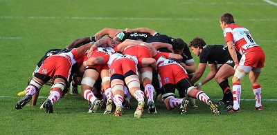 Rugby Scrum (2011), Photo by Pierre Selim, Wikimedia Commons