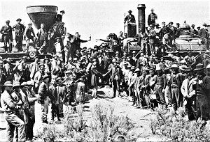 Champagne Celebration, Promontory, Utah (1869), Photo by Andrew J. Russell, Wikimedia Commons-300px