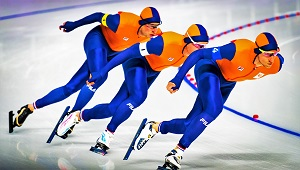 Dutch Speed Skaters Sven Kramer, Jan Blokhuijsen & Koen Verweij, Photo by Andrew Schutzman (2018 Winter Olympics), Wikimedia Commons