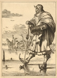 Man on Ice with Skates (Dutch, c1682-1702), British Museum