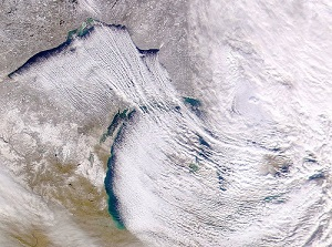 Lake-Effect Snow Blowing over the Great Lakes, Photo by SeaWiFS Project, NASA, Wikimedia Commons