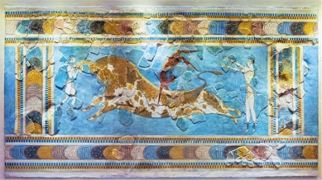 Bull-Leaping Minoan Fresco (c1550 BCE) Heraklion Archaeological Museum, Photo by Jebulon, Wikimedia Commons