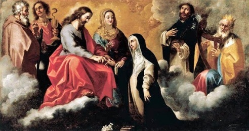 Mystic Marriage of Catherine of Siena (circa early 1700s) by Clemente de Torres, Wikimedia Commons