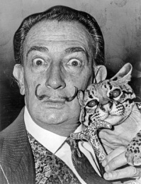 Salvador Dali & Babou the Ocelet (1965), Photo by Roger Higgins, Wikimedia Commons