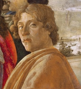Self-Portrait of Sandro Botticelli in The Adoration of the Magi (c1475), Uffizi, Wikimedia Commons