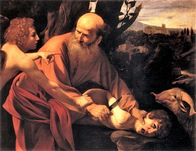 The Sacrifice of Isaac (c1603) by Caravaggio, Uffizi, Wikimedia Commons