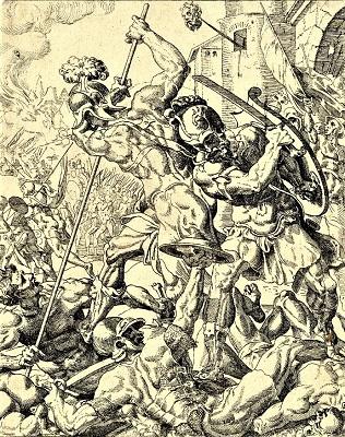 Assyrian Army, Story of Judith & Holofernes (c1550-1575) by Dirk Volkertsz Coornhert, British Museum