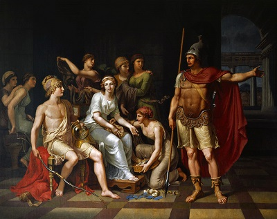 Hector Blames Paris for His Effeminacy and Warns Him to Go to Battle (1787) by JHW Tischbein, Wikimedia Commons