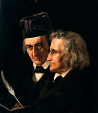 Jacob & Wilhelm Grimm (1855) by Elisabeth Jerichau-Baumann, Alte Nationalgalerie, Wikimedia Commons