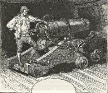 Secured Cannon illustration from Ninety-Three (1874) by Victor Hugo, Courtesy of The Project Gutenberg