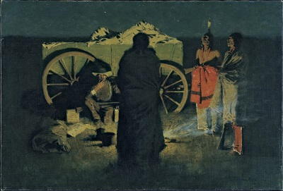 Shotgun Hospitality (1908) by Frederic Remington, Hood Museum of Art, Wikimedia Commons