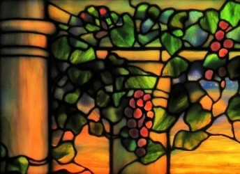 Stained Glass Window by AF Northrup & LC Tiffany, Flint Institue of Arts, Photo by cjverb (2018)-grapes closeup
