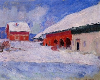 Red Houses at Bjornegaard in the Snow by Claude Monet, Wikimedia Commons