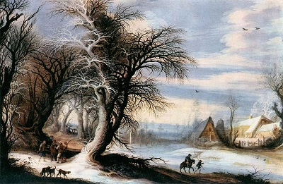Winter Landscape with Woodcutters by Gijsbrecht Leytens, National Gallery in Prague, Wikimedia Commons