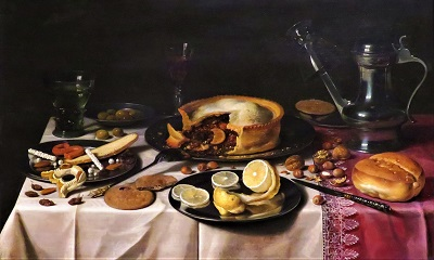 Still Life with a Pie, Sweetmeats, and Wine Glasses (1623-1625) by Pieter Claesz., AIC, Photo by cjverb (2019)-400px