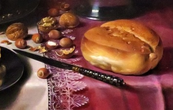 Still Life with a Pie (close up of bread; 1623-1625) by Pieter Claesz., AIC, Photo by cjverb (2019)