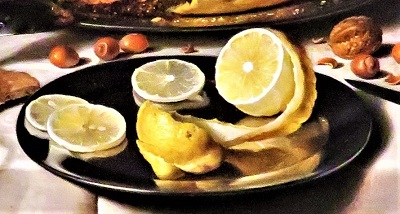 Still Life with a Pie (close up of lemons; 1623-1625) by Pieter Claesz., AIC, Photo by cjverb (2019)