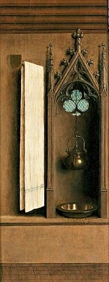 Ghent Altarpiece, Niche with Wash Basin (c1432) by Hubert and Jan van Eyck, Saint Bavo's Cathedral, Wikimedia Commons