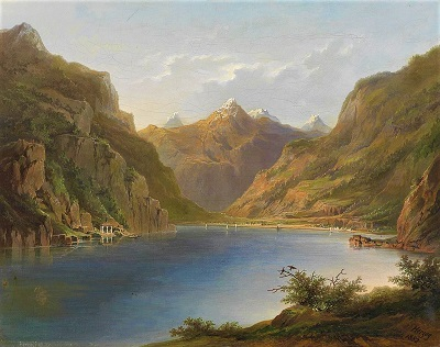 Lake Lucerne with a view of the Tell Chapel (1882) by Herman Herzog, Wikimedia Commons