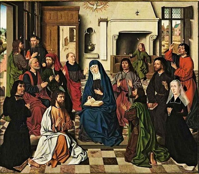 Pentecost (c1489) by Master of the Baroncelli Portraits, Wikimedia Commons