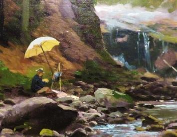 Sketching on Beaver's Creek (painter close up; c1880-1885) by Herman Herzog, Grand Rapids Art Museum, Photo by cjverb (2019)