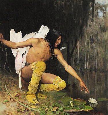 The Indian and the Lily (1887) by George de Forest Brush, Crystal Bridges Museum, Wikimedia Commons