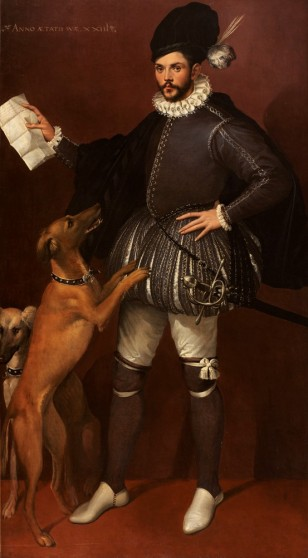 Portrait of a Cavalier with his Hunting Dogs (c1570-1580) by Bartolomeo Passerotti, Rhode Island School of Design Museum, Wikimedia Commons