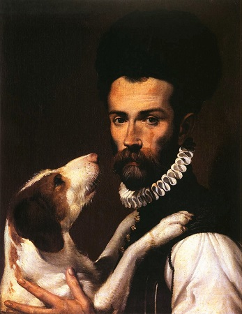 Portrait of a Man with a Dog (c1585-1592) by Bartolomeo Passarotti, Musei Capitolini, Wikimedia Commons-450px