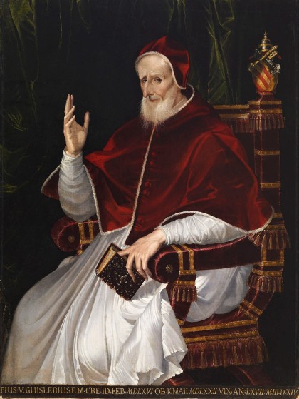Portrait of Pope Pius V (c1566) by Bartolomeo Passarotti, Walters Art Museum, Wikimedia Commons