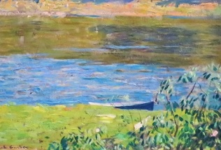 Junior Camp (Boat Close Up; c1924) by Daniel Garber, San Diego Museum of Art, Photo by cjverb (2019)