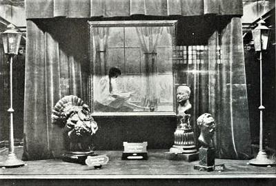 Philadelphia Art Week Window Display (1922) featuring Daniel Garber's painting, The Orchard Window (1918) Wikimedia Commons