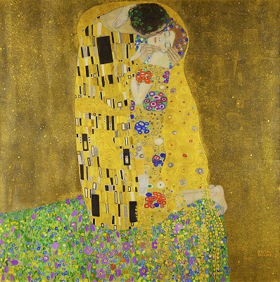 Art Nouveau Example, The Kiss (Der Kuß, 1907–1908) by Gustav Klimt, Belvedere, Wikimedia Commons