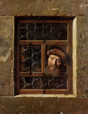 Old Man in the Window (1653) by Samuel van Hoogstraten, Kunsthistorisches Museum, Wikimedia Commons