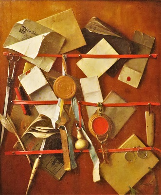 Trompe L'Oeil Still Life (c1655) by Samuel van Hoogstraten, Photo by cjverb(2010) San Diego Museum of Art-400px