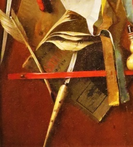 Trompe L'Oeil Still Life (close up quill and penknife; c1655) by Samuel van Hoogstraten, Photo by cjverb (2019) San Diego Museum of Art